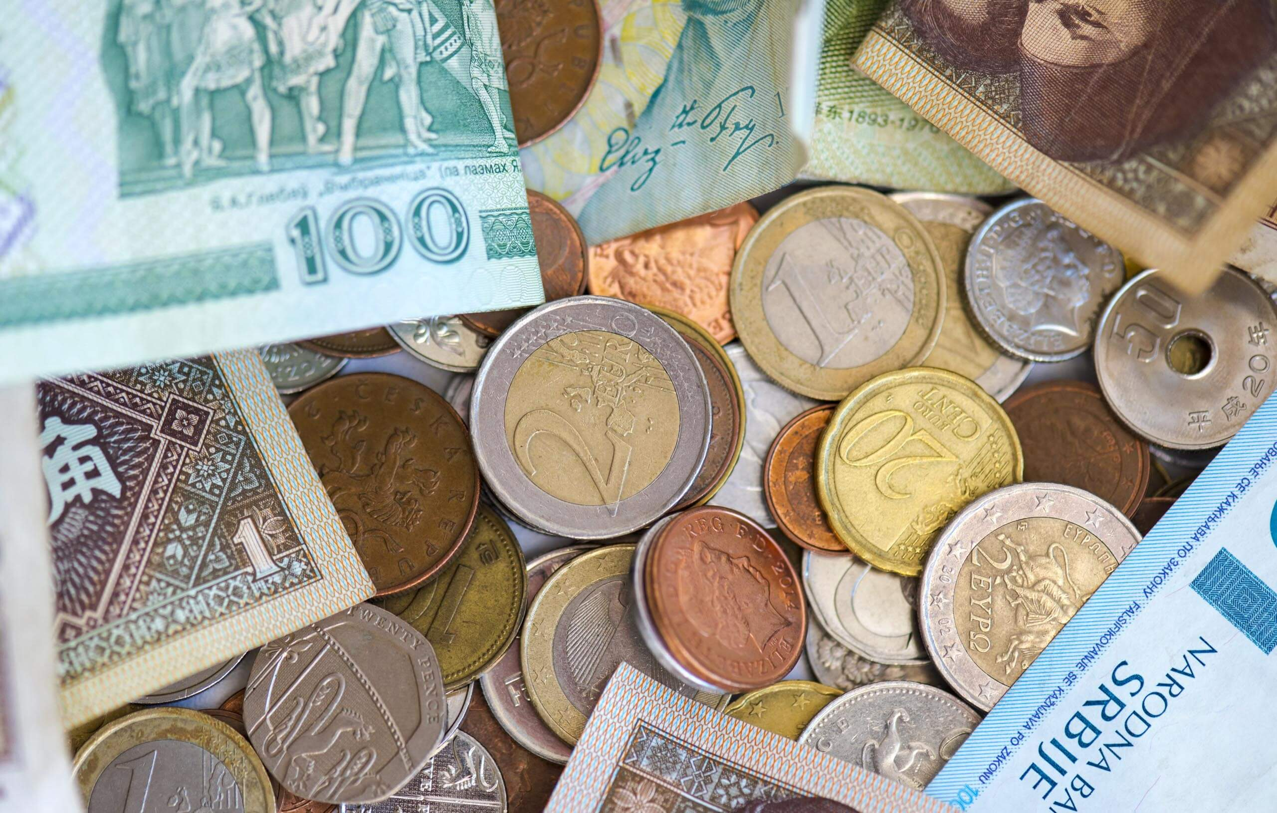A display of foreign currency