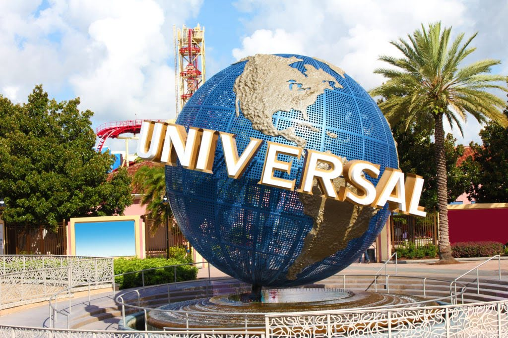 Orlando, Florida, United States. Universal Studios globe sign at entrance.