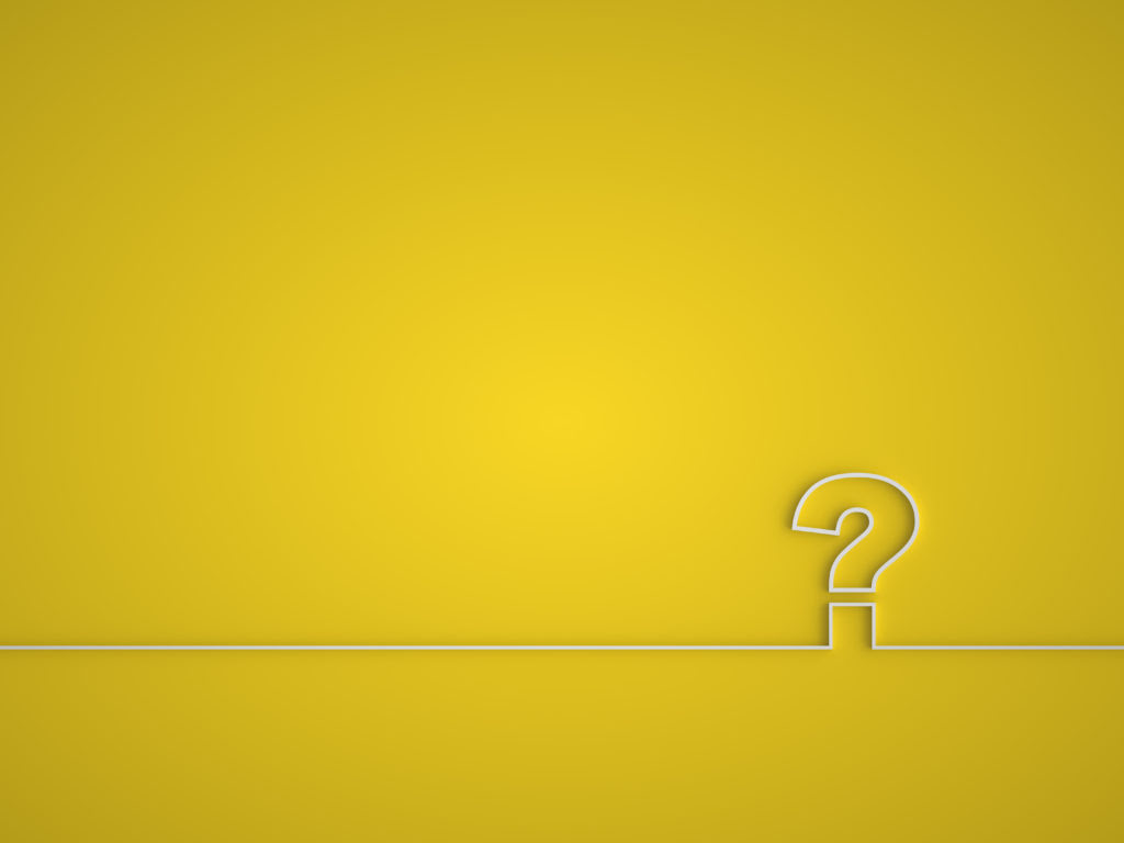 Question mark icon. Help symbol. FAQ sign on a yellow background.