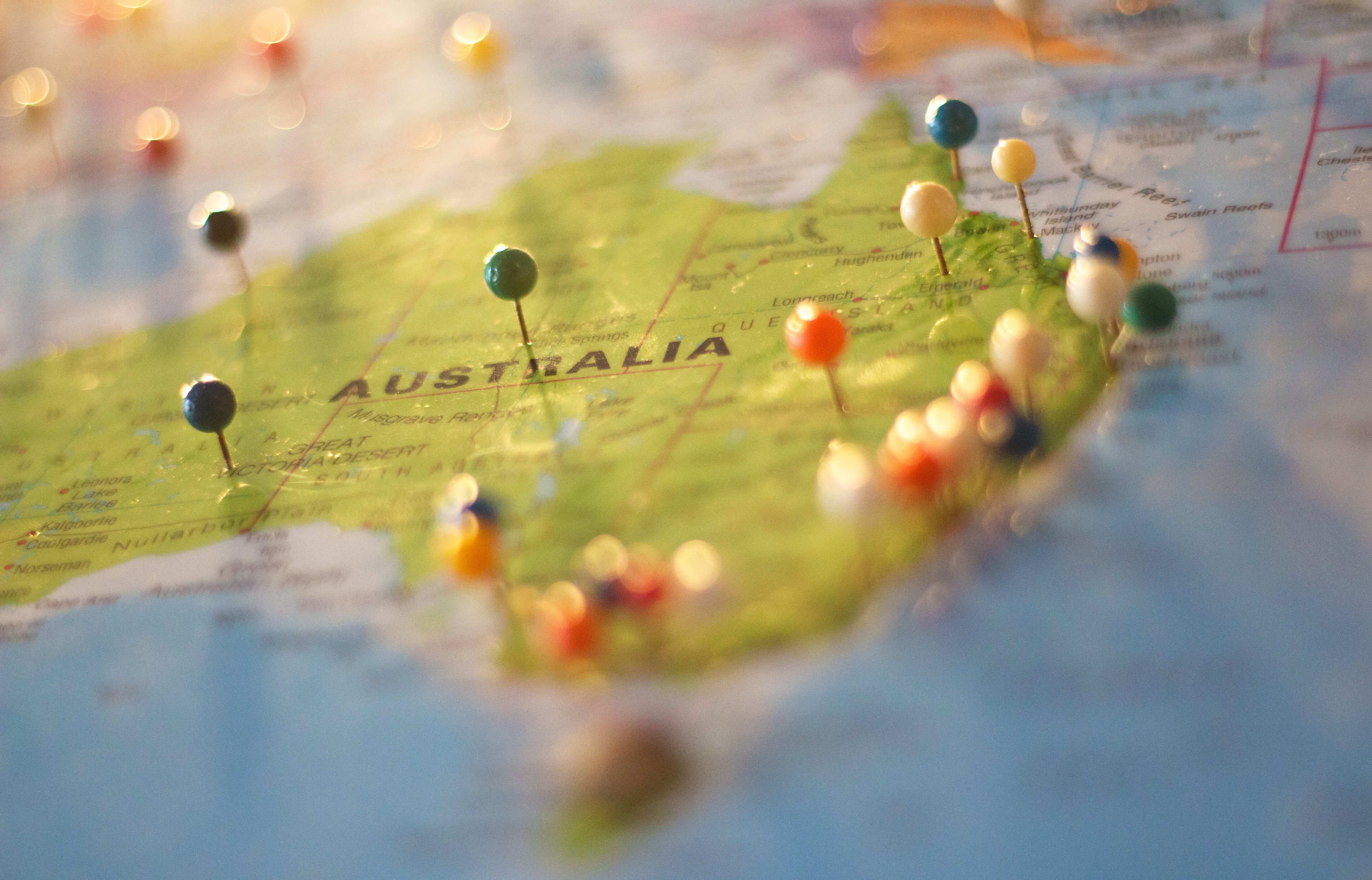 A map of Australia with pins
