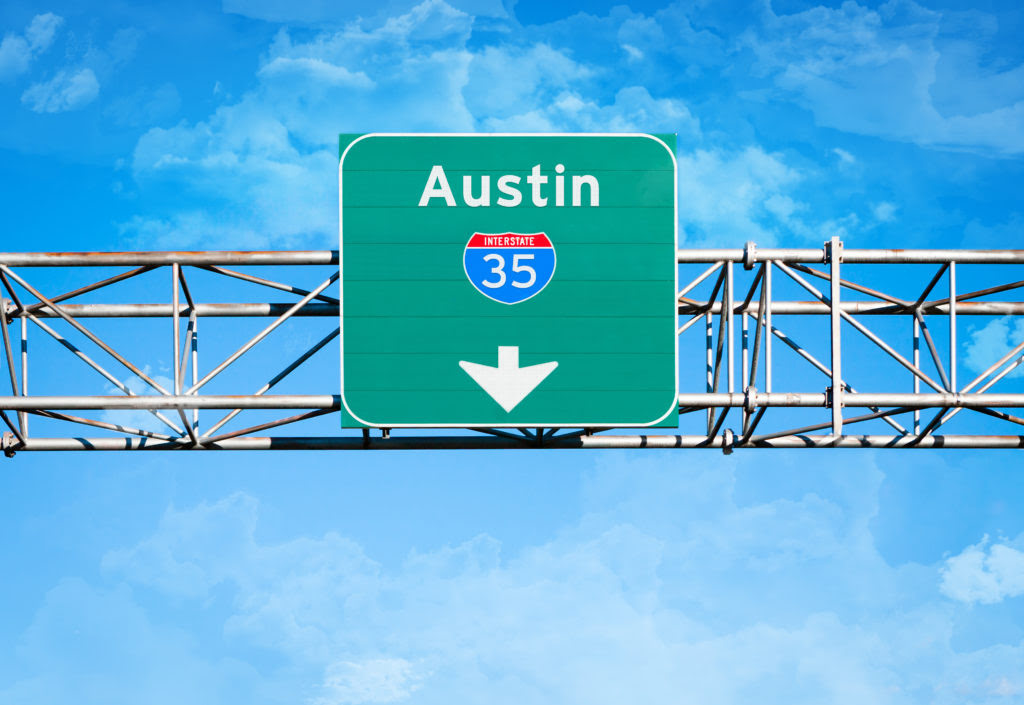 Road sign for Austin, Texas