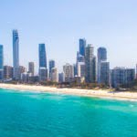 An aerial view of Surfers Paradise on Queensland's Gold Coast in Australia