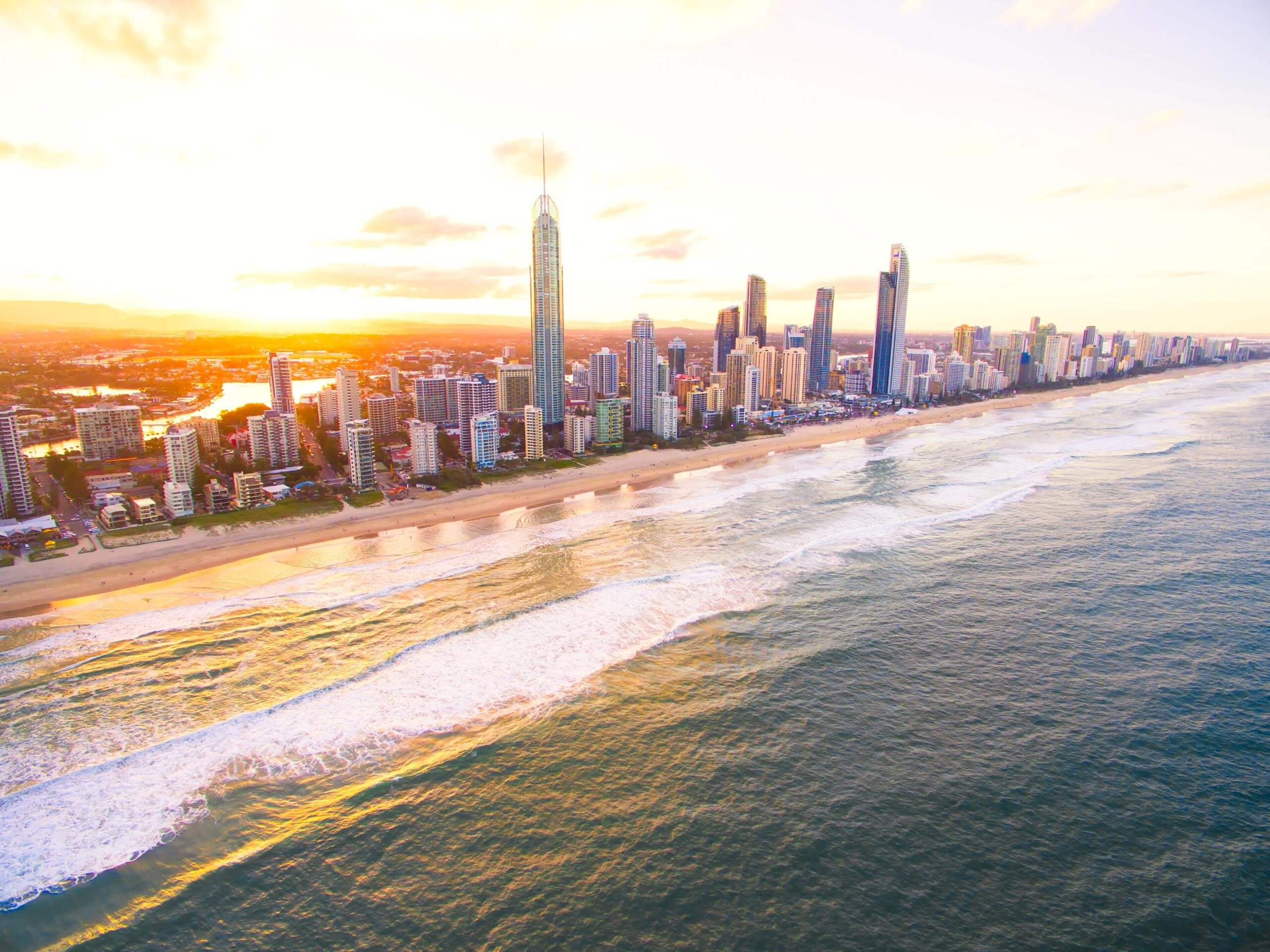 An aerial view at sunset of Surfers Paradise on Queensland's Gold Coast in Australia