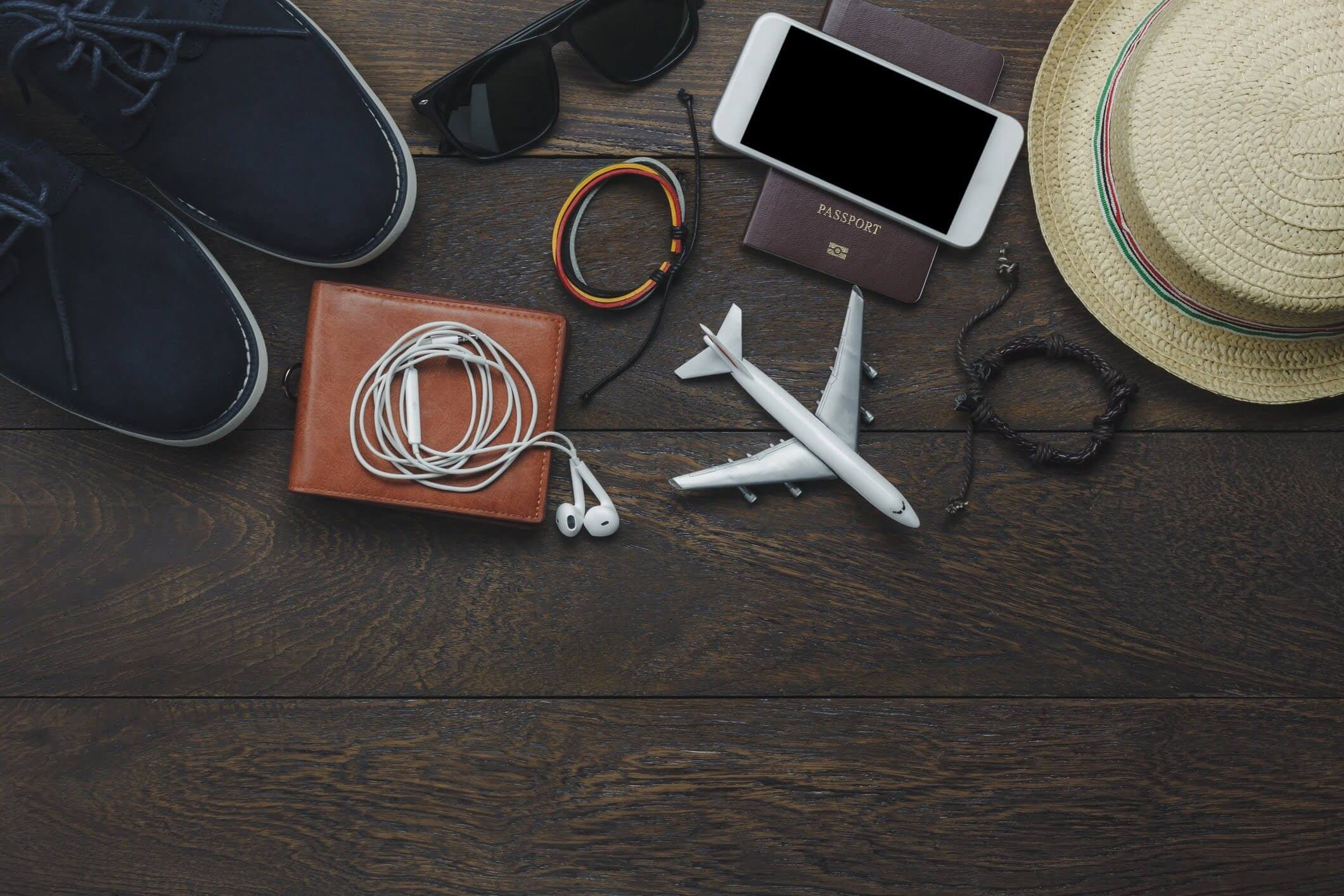 Several accessories for men travel to holidays trip.