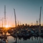 Sunset in Auckland with boats in foreground