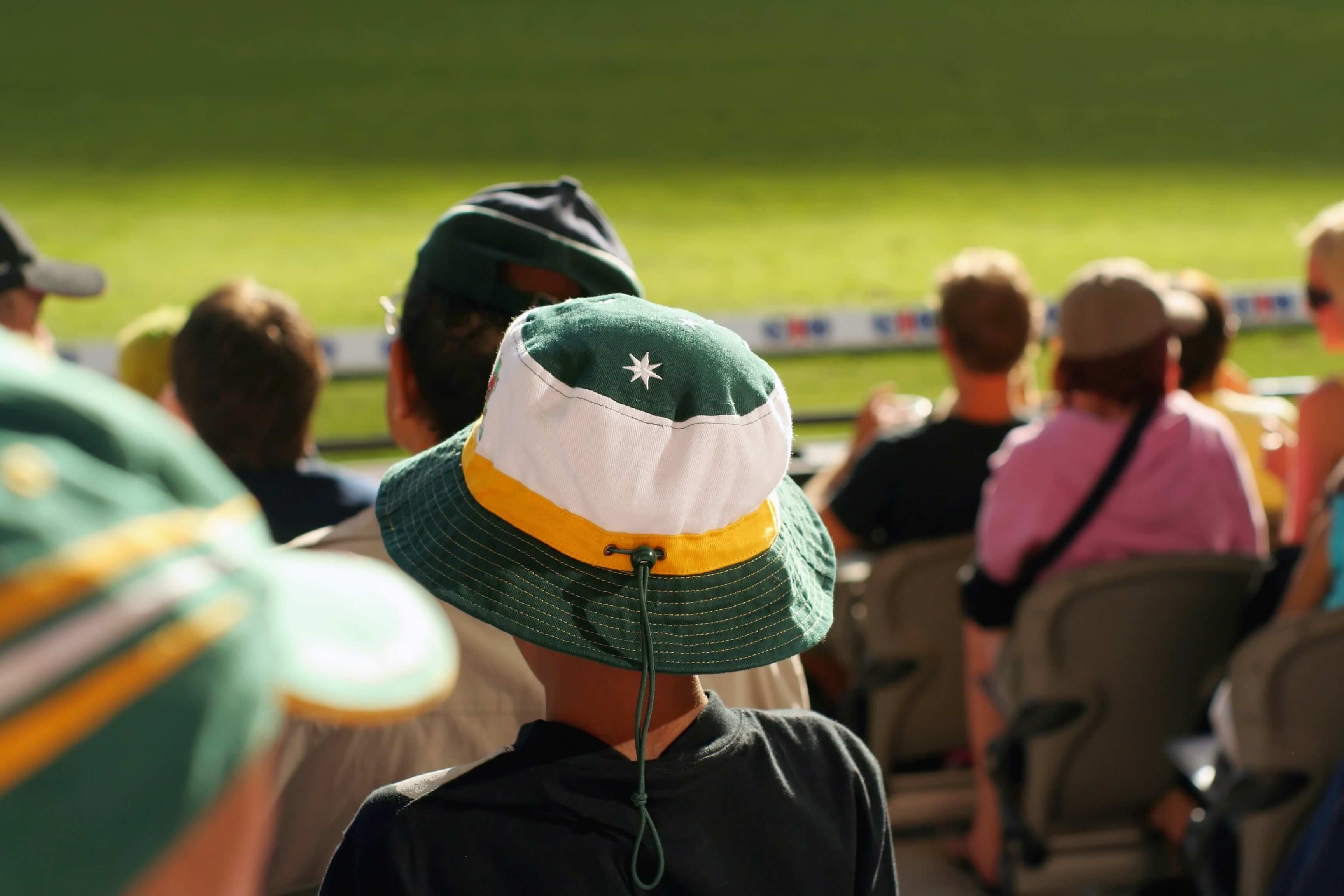 Young Australian cricket supporter in the crowd