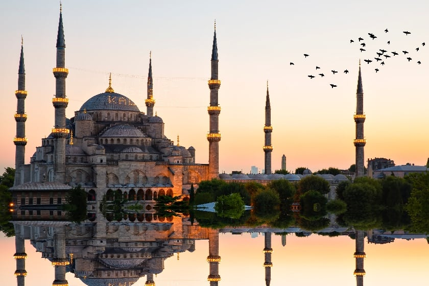 The Sultan Ahmed Mosque, often referred to as the Blue Mosque, in Istanbul