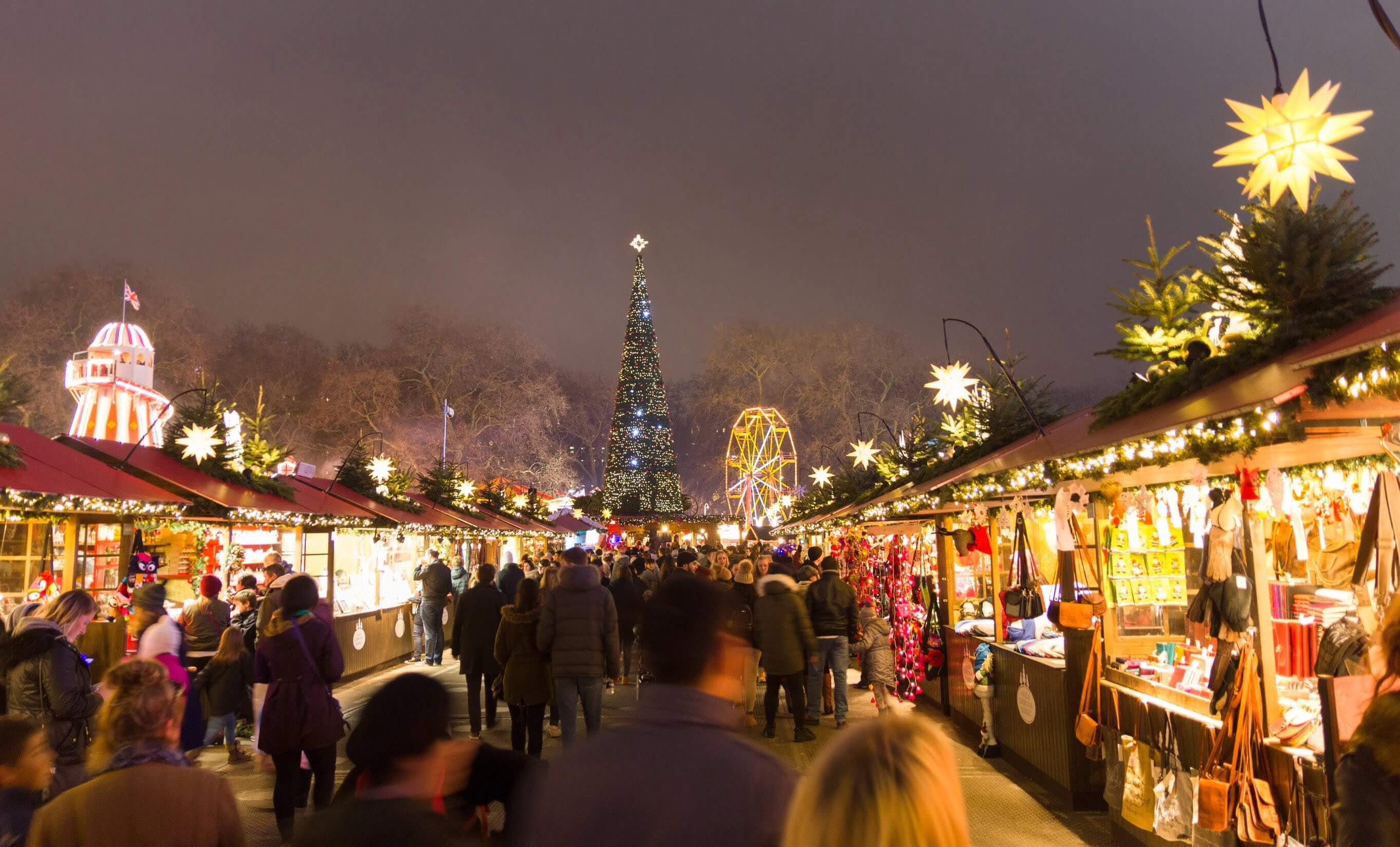 Wooden chalets at Hyde Park's Winter Wonderland