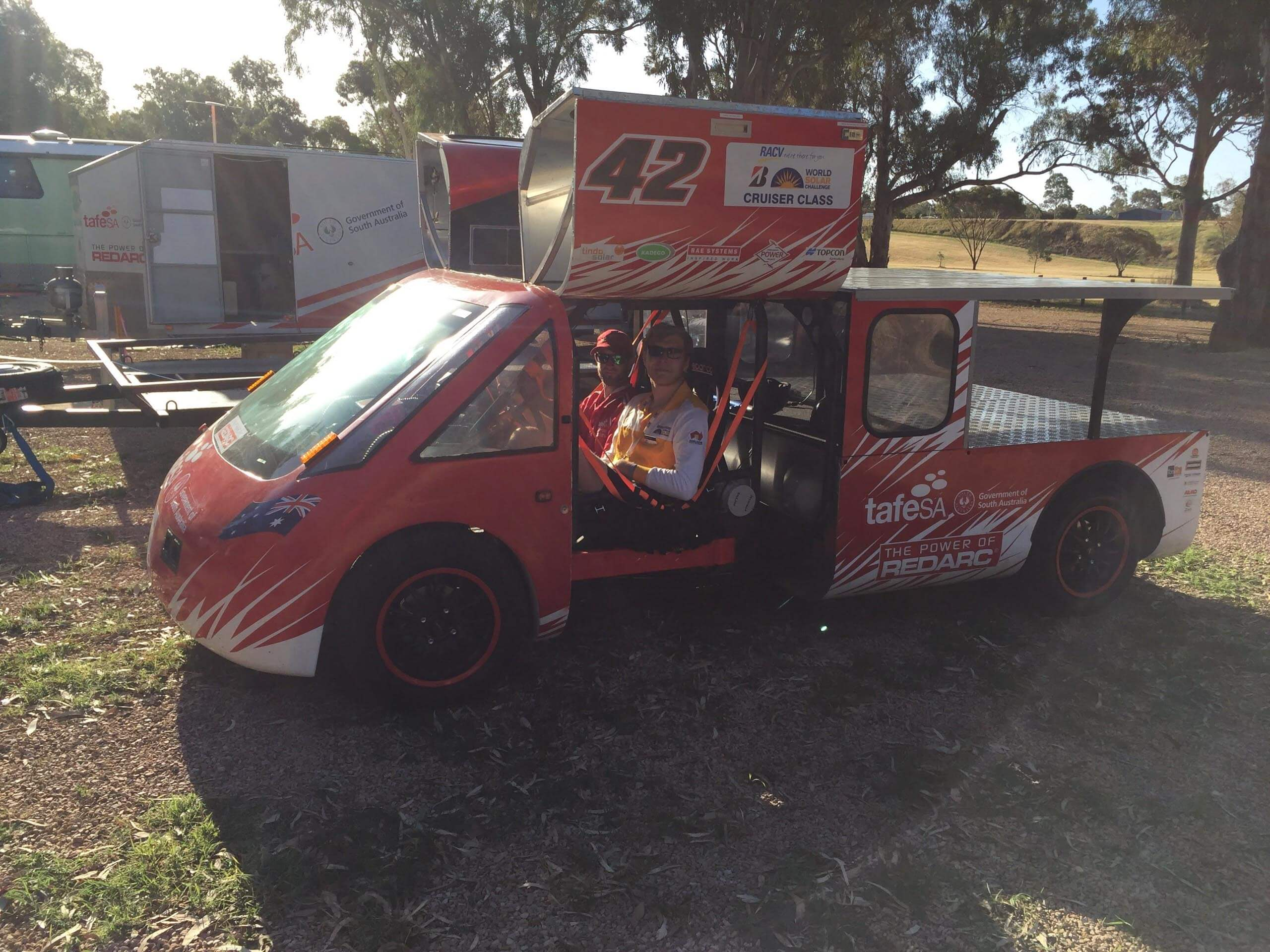 Alex takes a ride in the TAFE SA Solar Spirit at the final campsite, 100km North of Adelaide