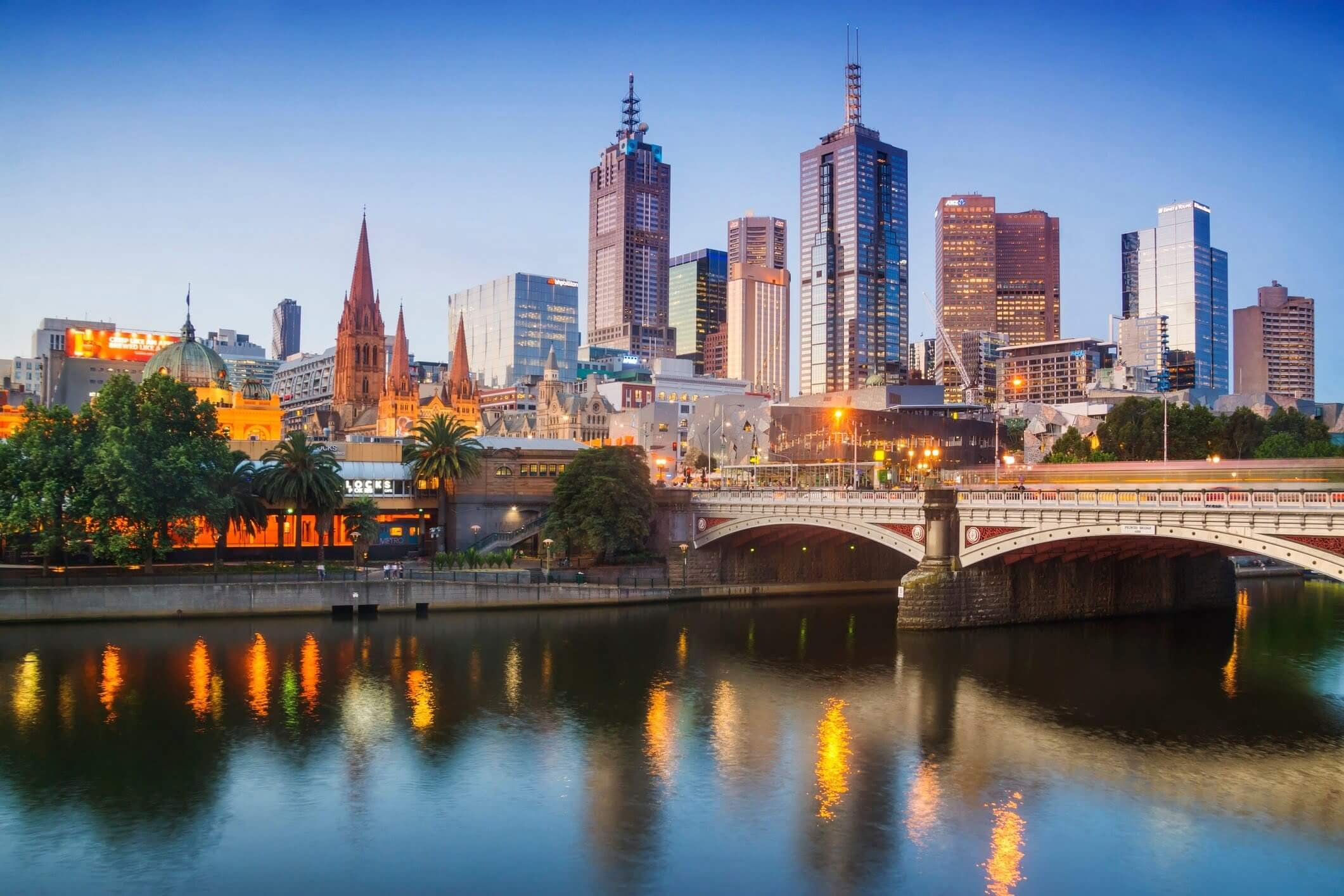 Melbourne, Australia at dusk, the city where the Australian Open will be held.