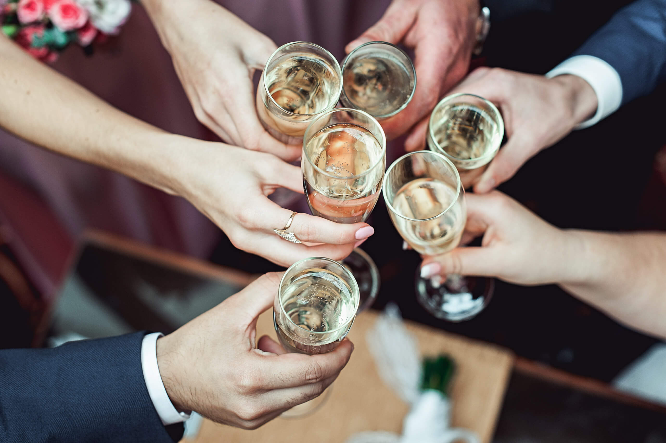Friends toasting champagne