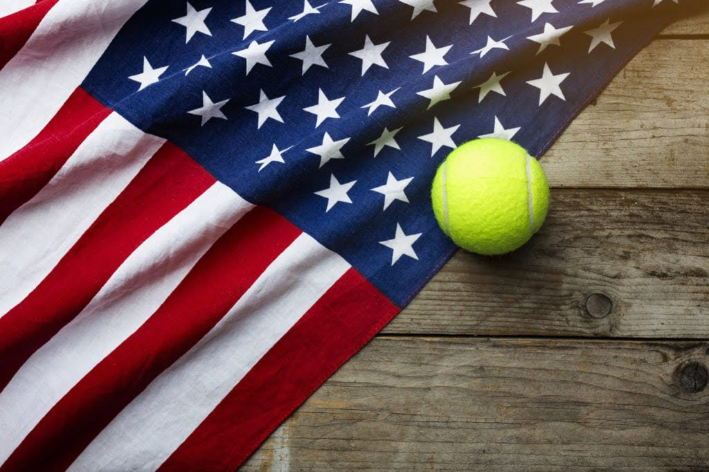 Tennis ball with American flag