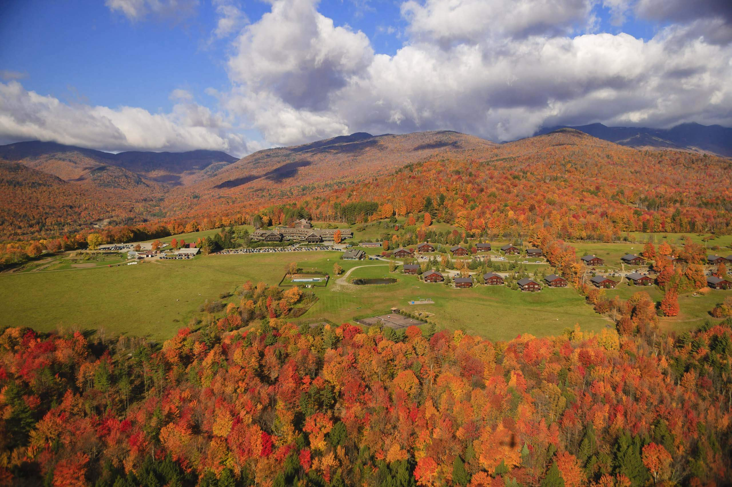 Aerial view of fall colours at Stowe, Vermont