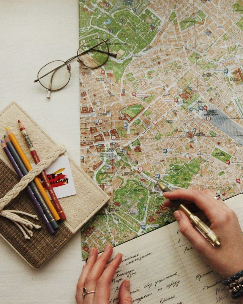 map, book and pens