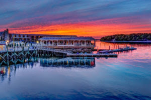 Bar Harbor, sunset at the wharf