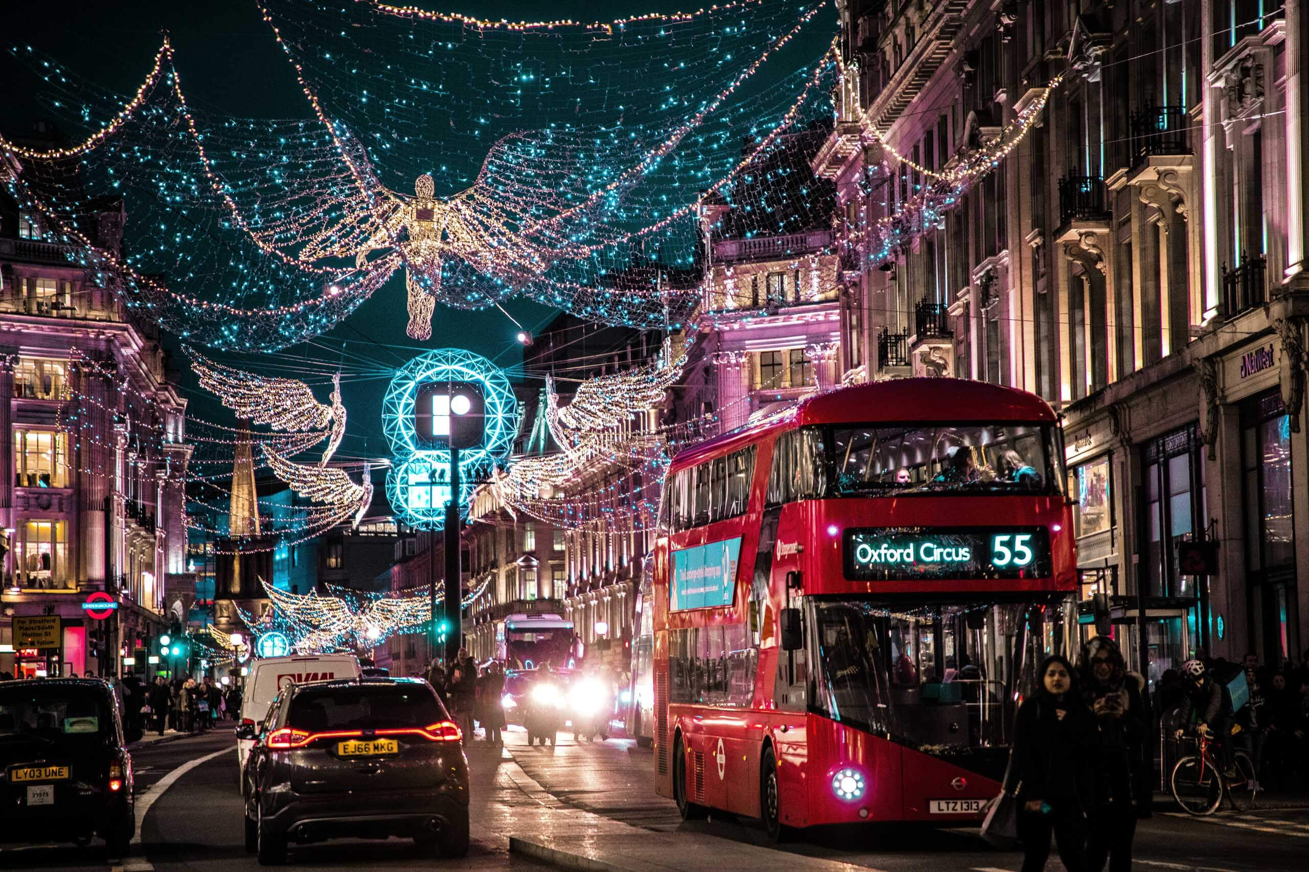 Regent Street in London at Christmas time. Photo by Jamie Davies on Unsplash