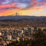 The skyline of Portland, Oregon with Mount Hood in the background