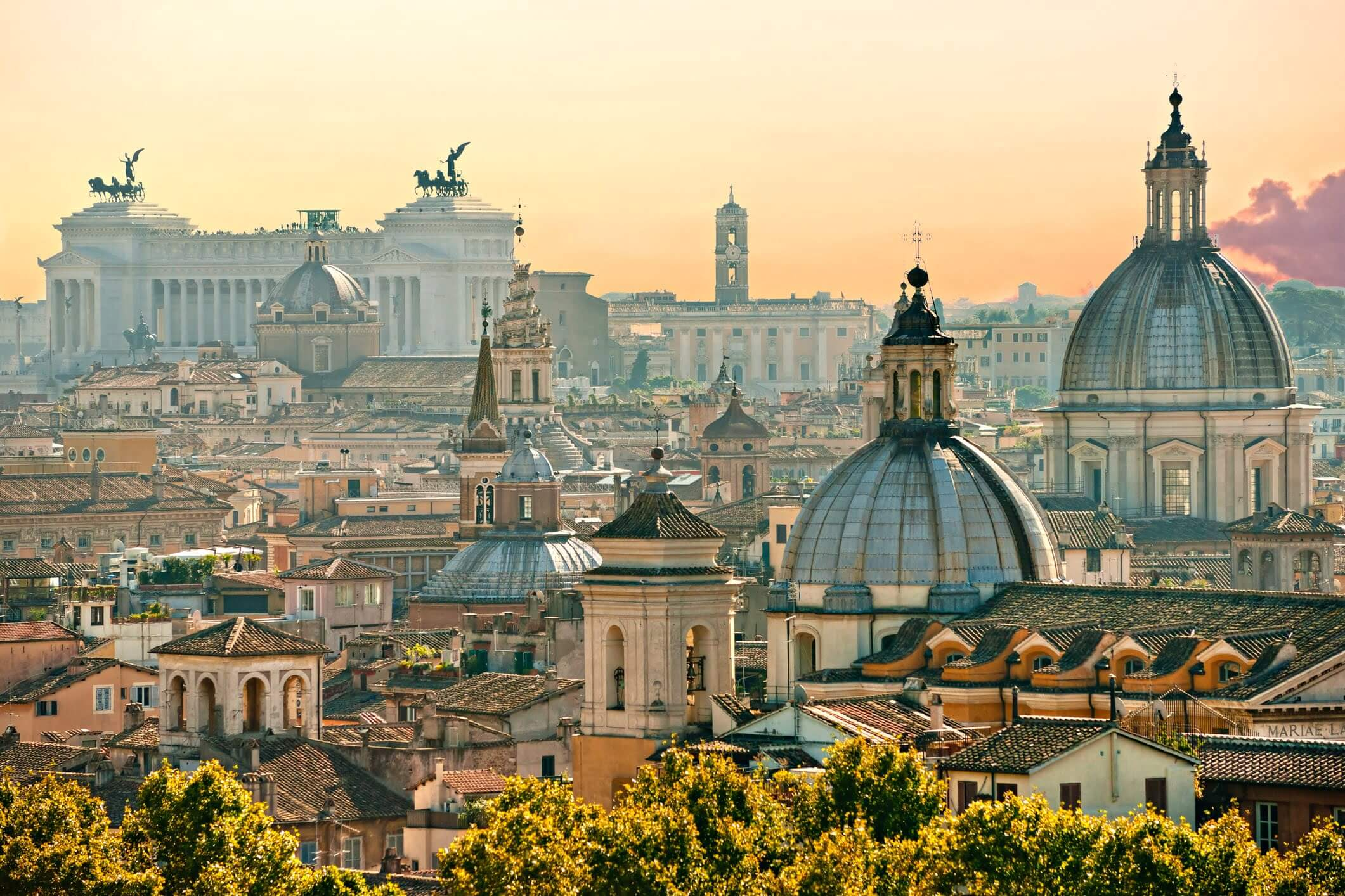 Rome's skyline, with Monumento Nazionale a Vittorio Emanuele II in the background