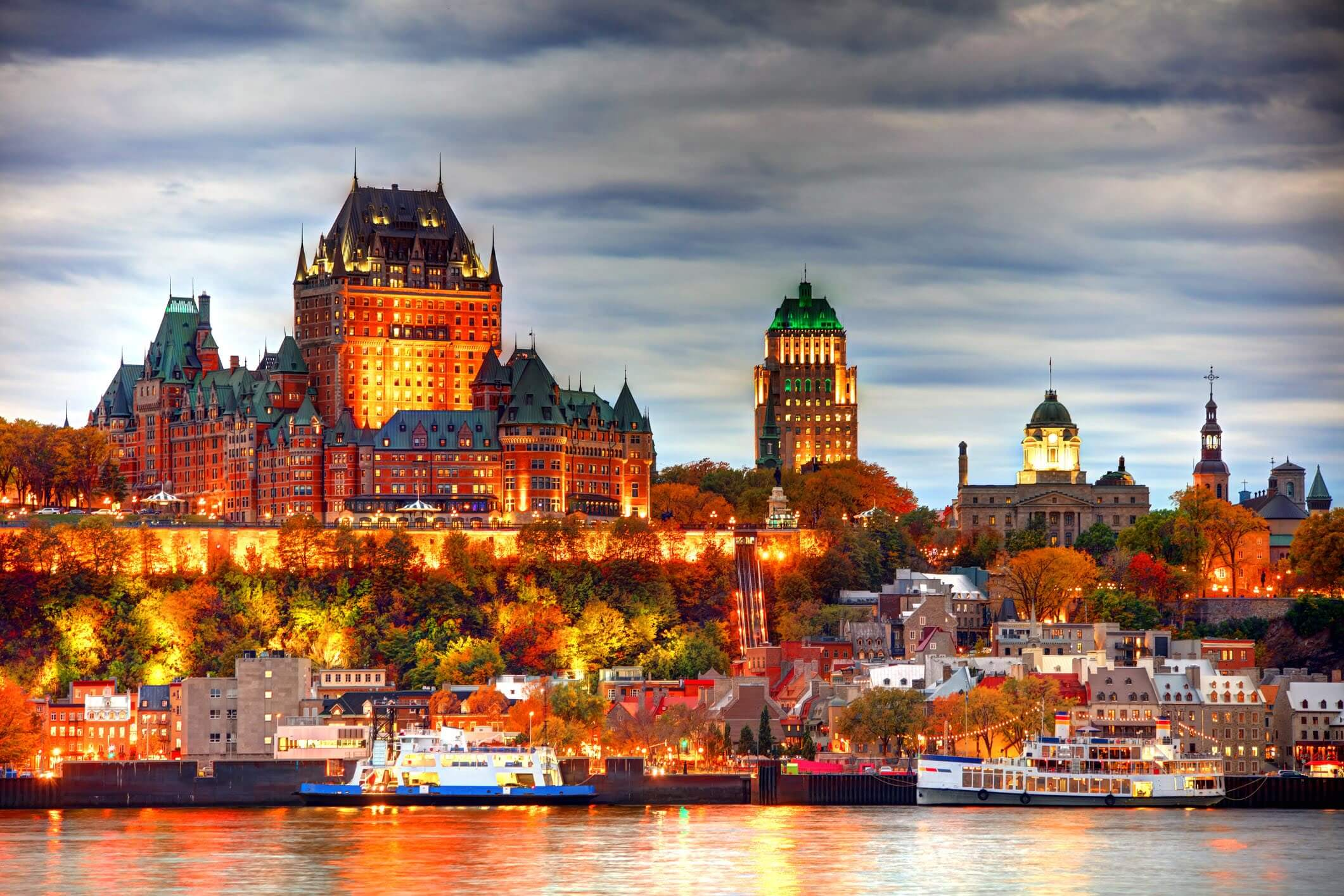 Quebec City skyline along the St Lawrence River