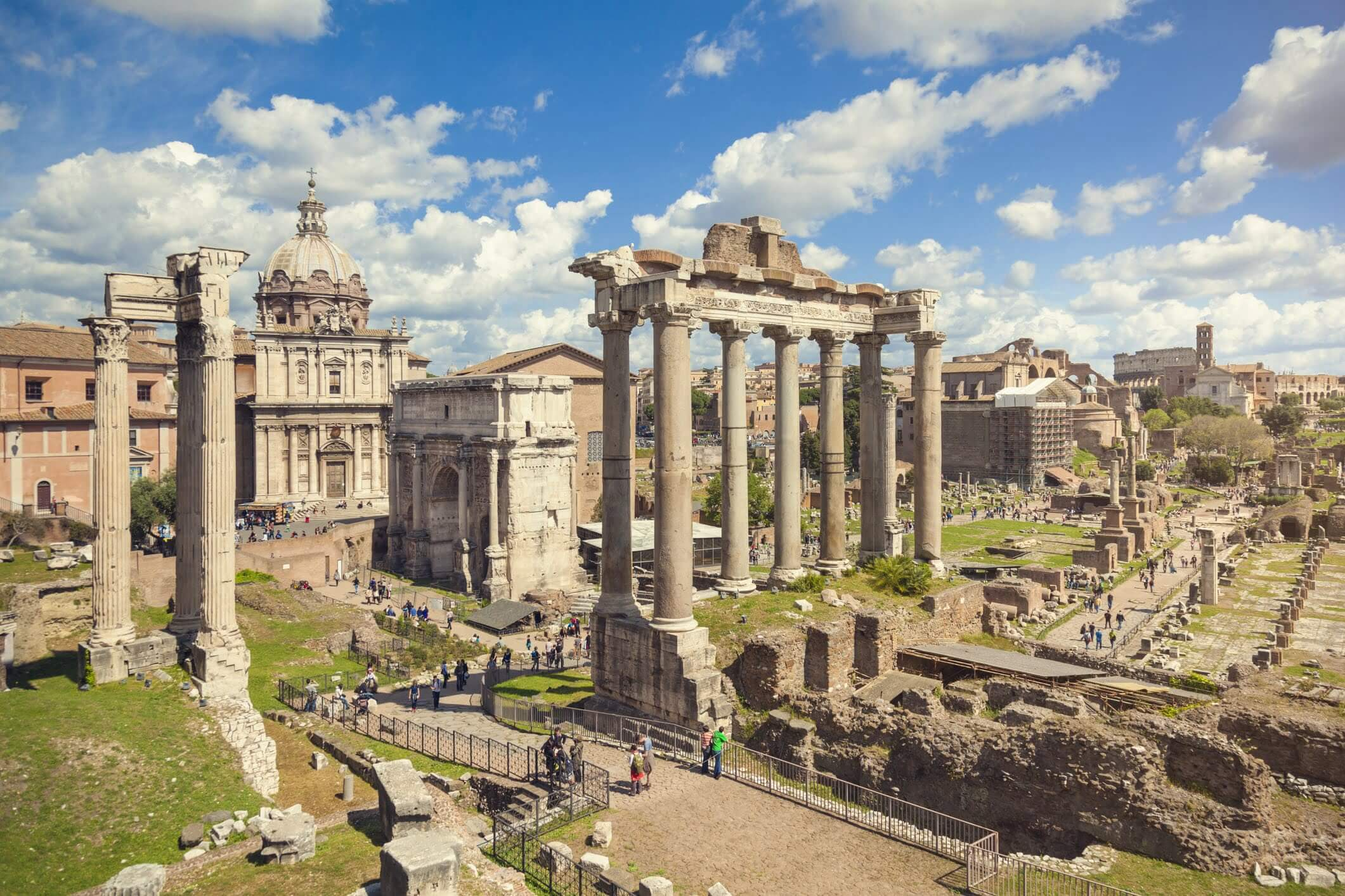 The Roman Forum with a view of the Temple of Saturn