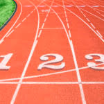 Starting position numbers on running track