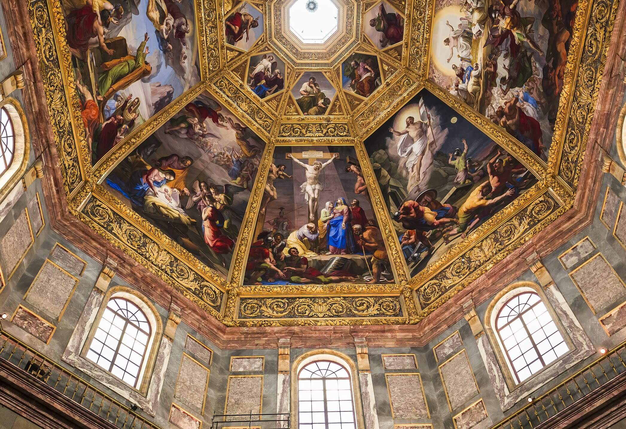 Art on the ceiling of the Medici chapel in Florence