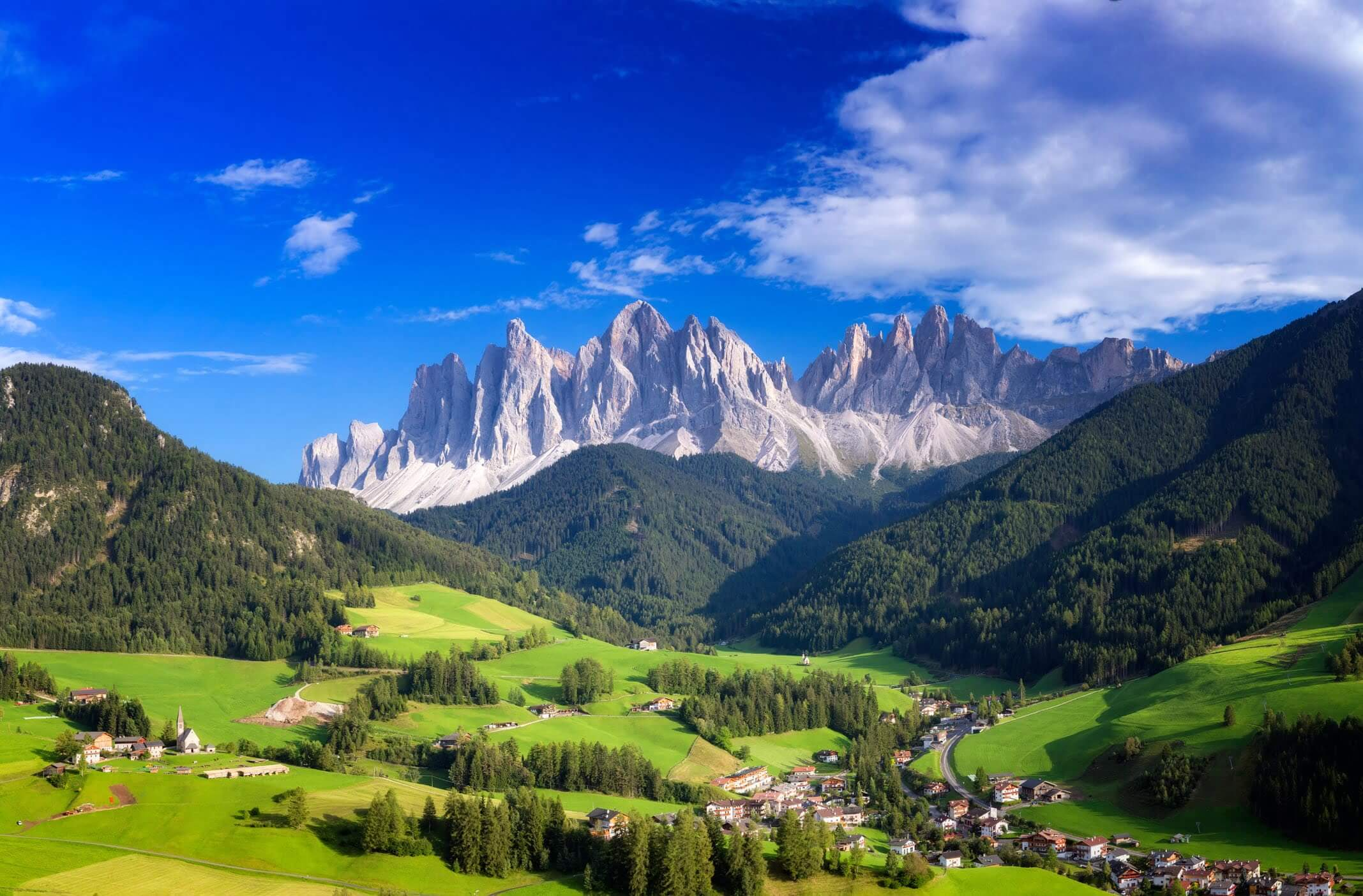 Val di Funes mountain town framed by the Dolomites