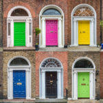 Rows of colourful doors in Dublin