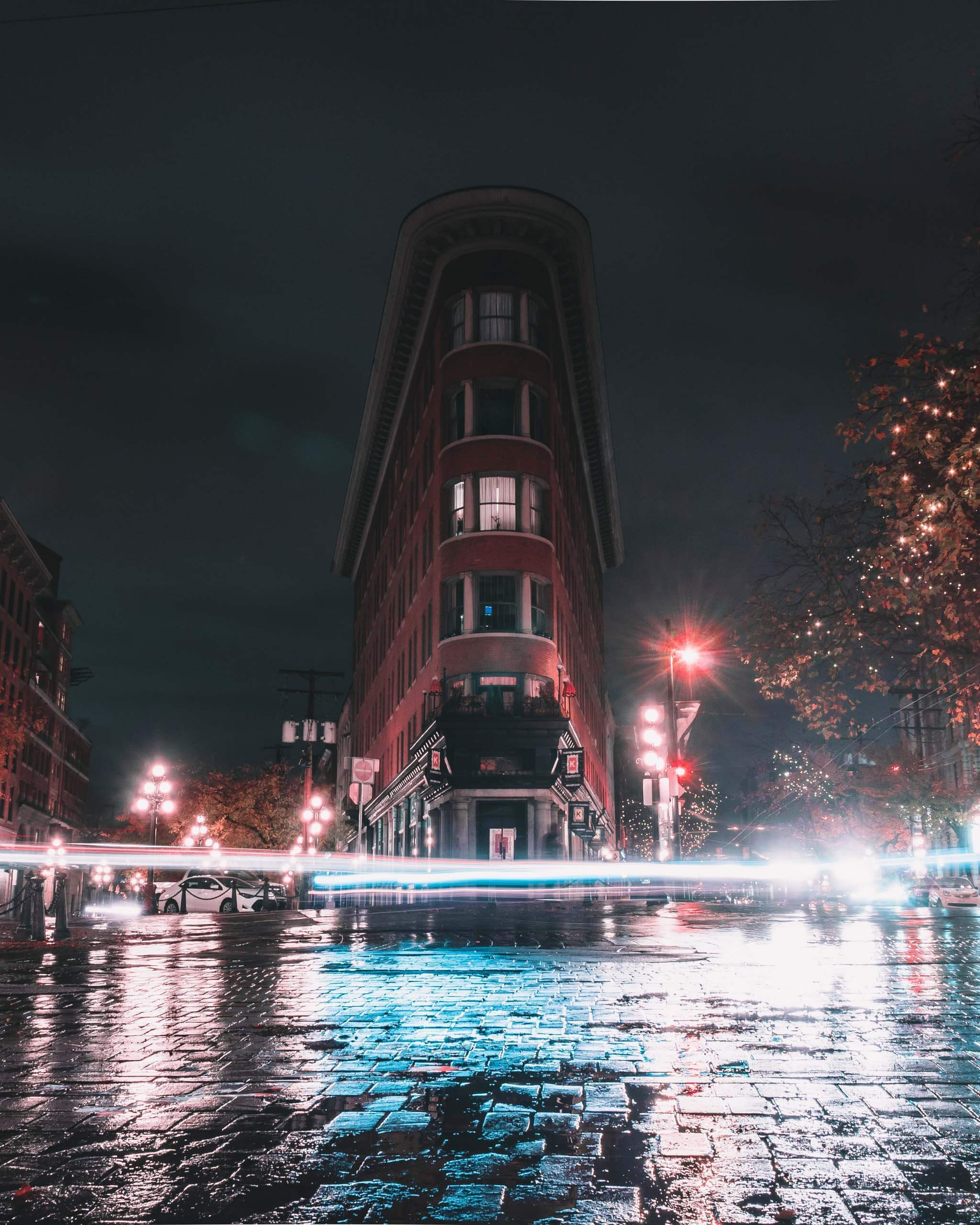 Gastown time lapse photo at night