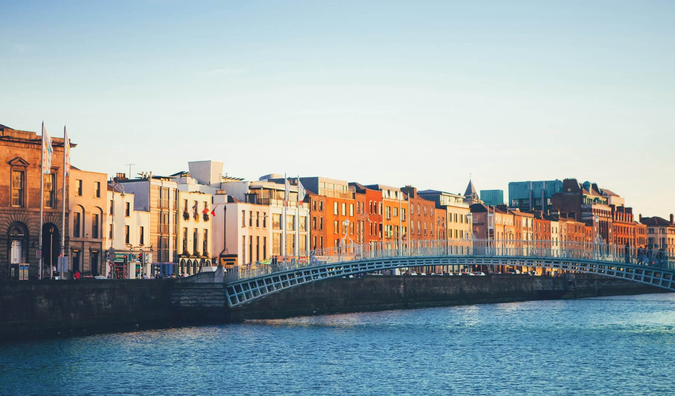 View of Ha'penny Bridge crossing the River Liffey River