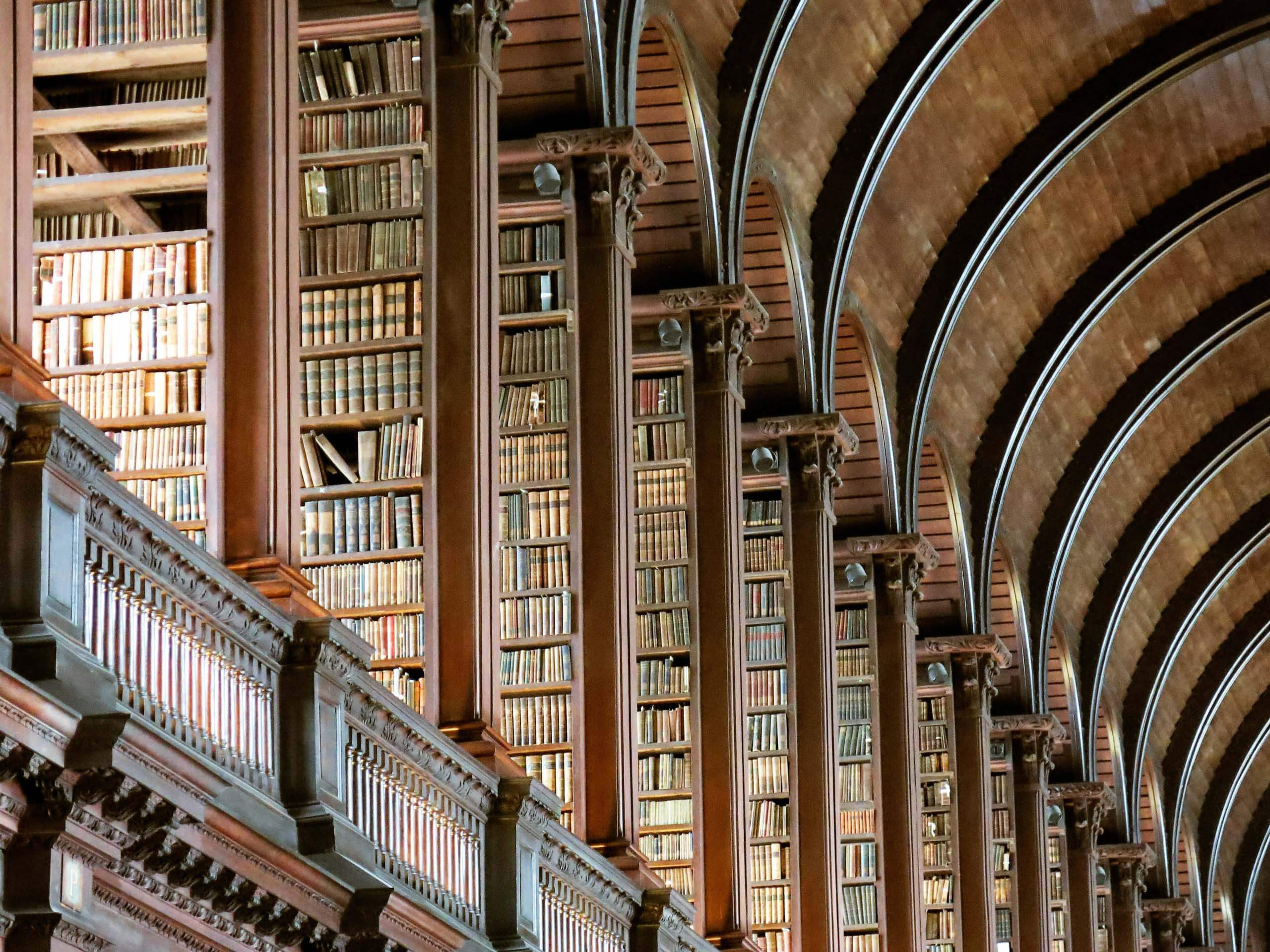 The Long Room Of The Old Library At Trinity College, Dublin, Ireland. Photo by Jonathan Singer on Unsplash