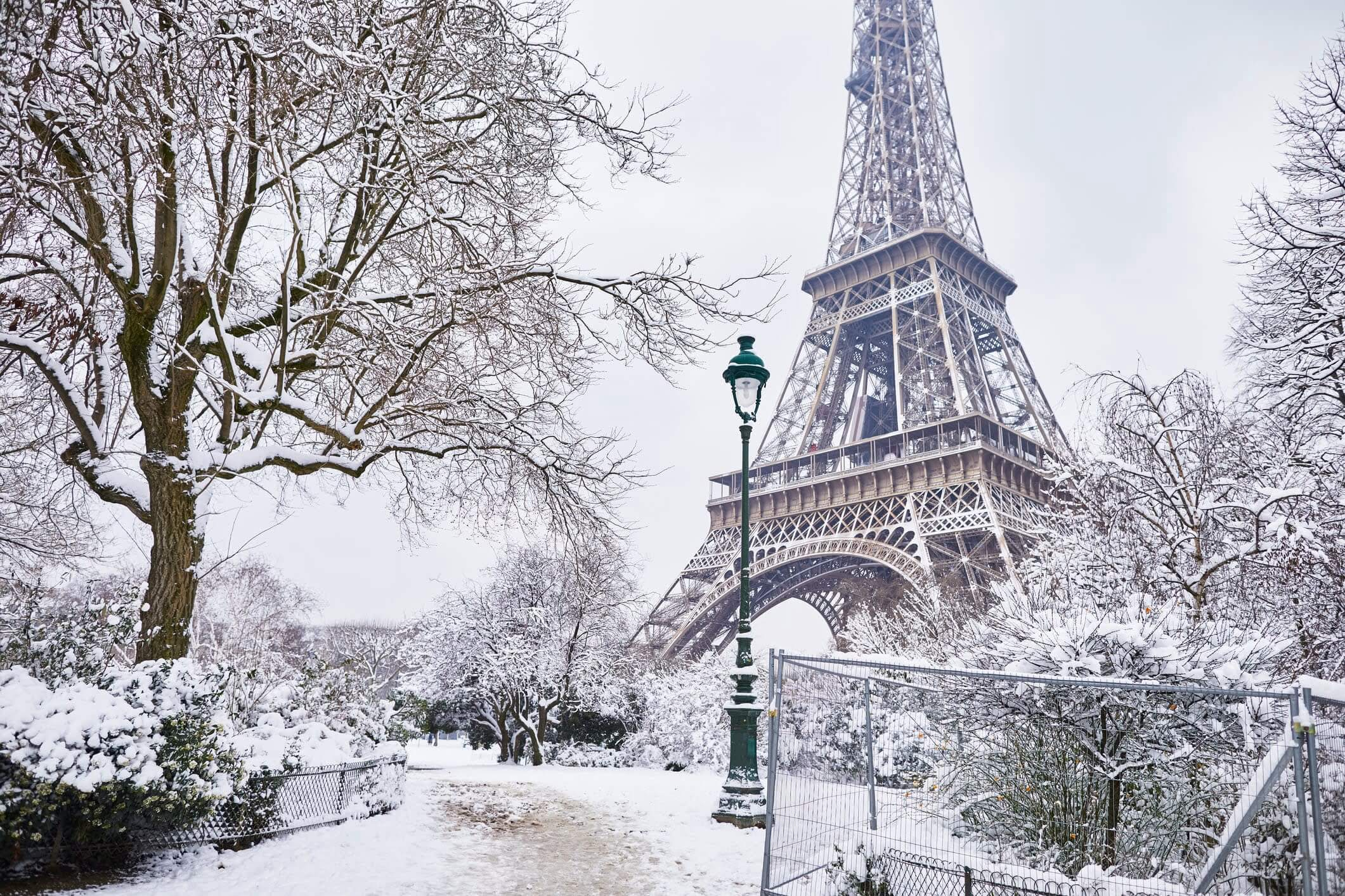 Eiffel Tower covered in snow