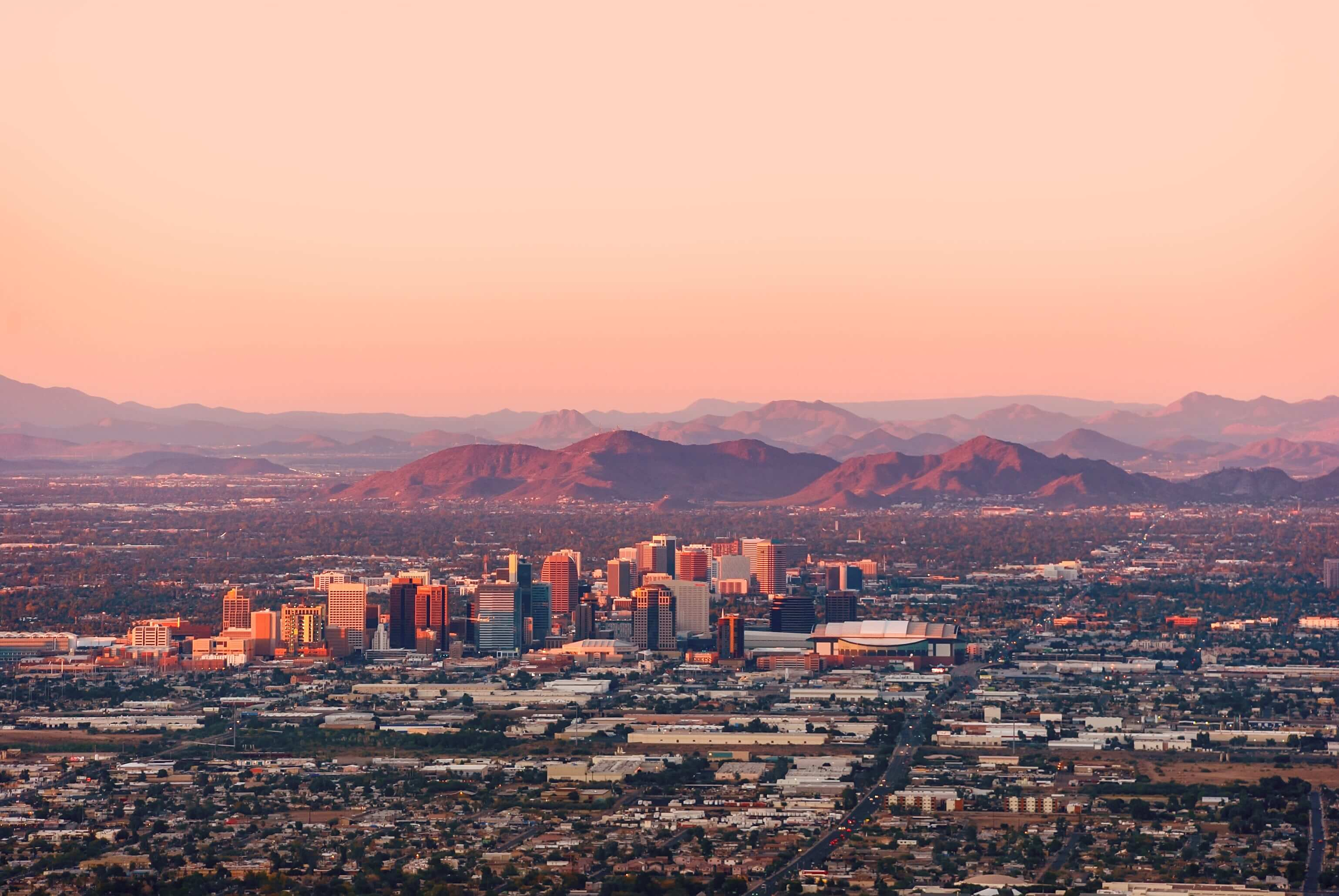 View of Phoenix, Arizona at dusk