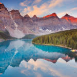 Moraine Lake at sunset at Banff National Park