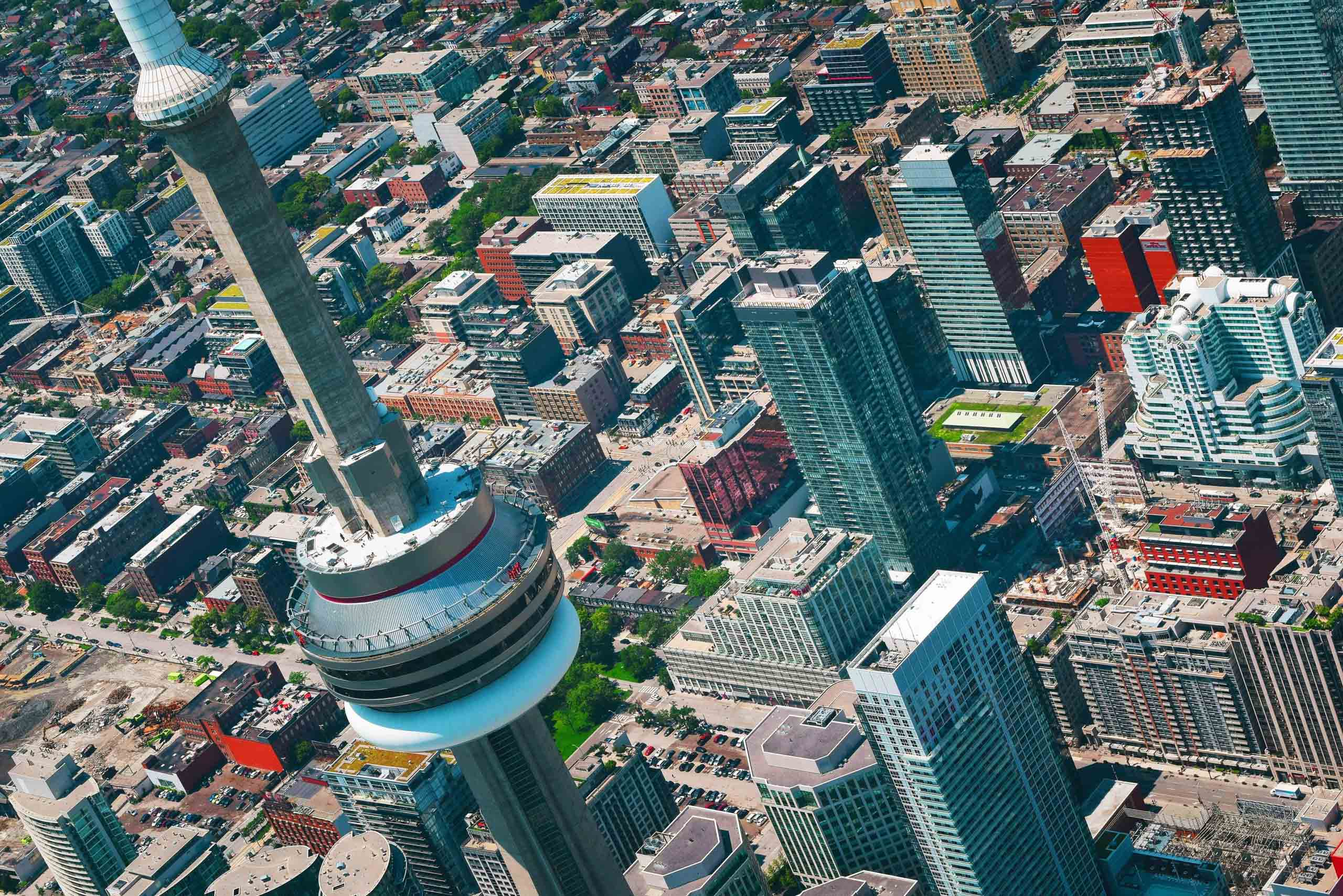 View the city from above from Toronto's CN Tower.