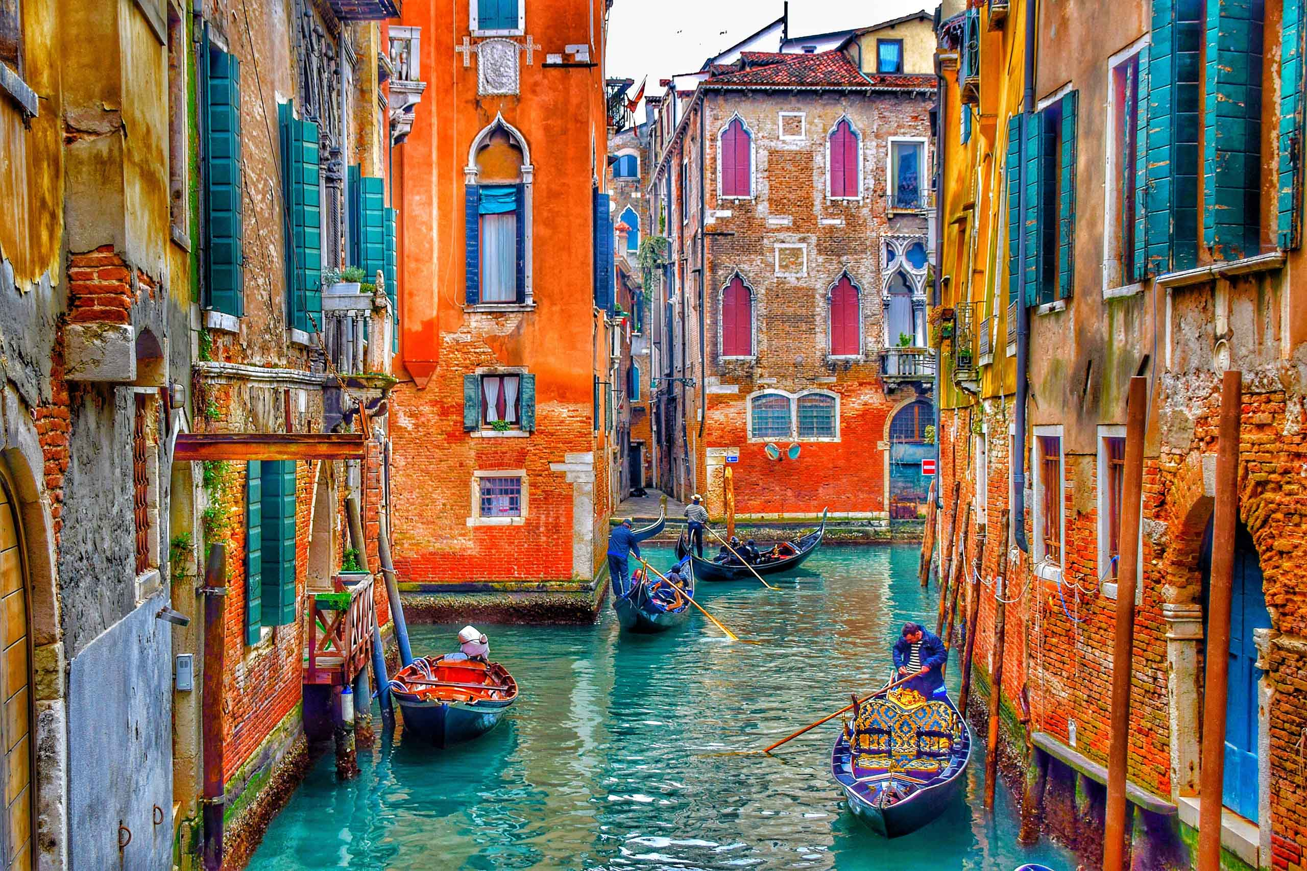 Colourful buildings and canal in Venice